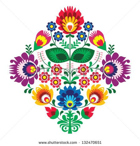 Folk embroidery with flowers - traditional polish pattern - wycinanka, Wzory Lowickie - stock vector
