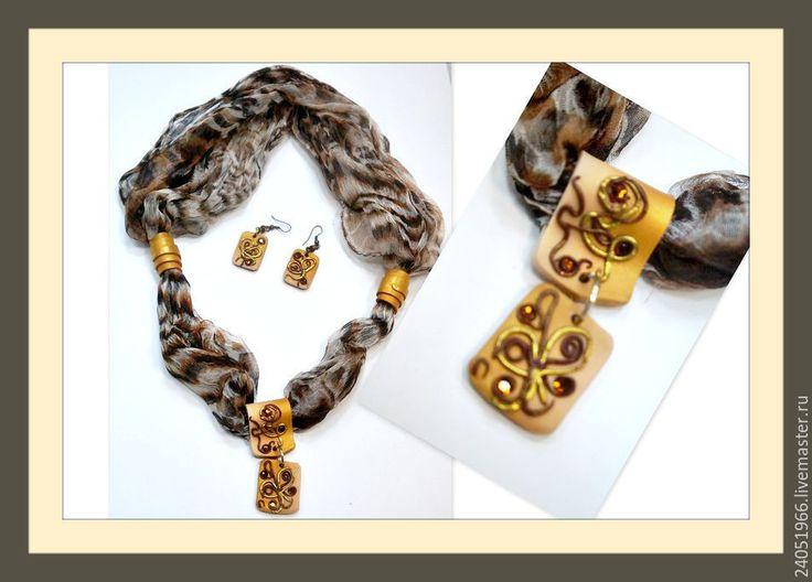 Купить Леопардовый принт - коричневый, шарф женский, украшение на шею, Украшение ручной работы