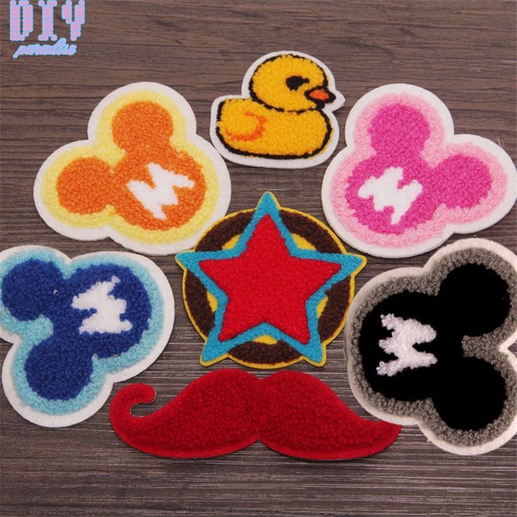 7pcs Mustache Star Embroidered Sew Iron On Patches Cartoon Micky Duck Cloth Applique Badge Fabric Apparel Sewing Crafts DIY