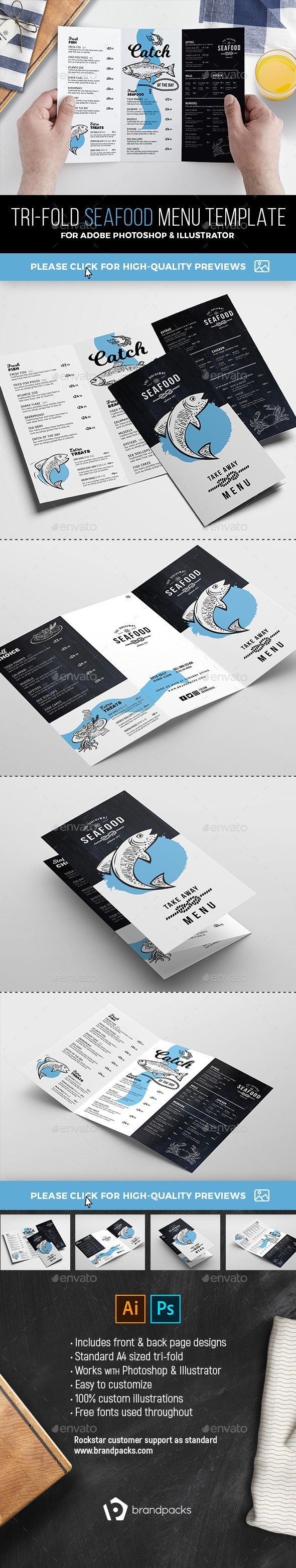 TriFold Seafood Menu Template — Photoshop PSD #seafood restaurant #menu template • Available here ➝ https://graphicriver.net/item/trifold-seafood-menu-template/21049656?ref=pxcr