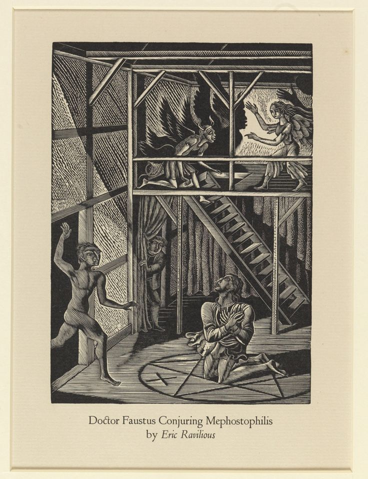 best dr faustus images christopher marlowe  eric ravilious dr faustus conjuring mephostophilis date unknown