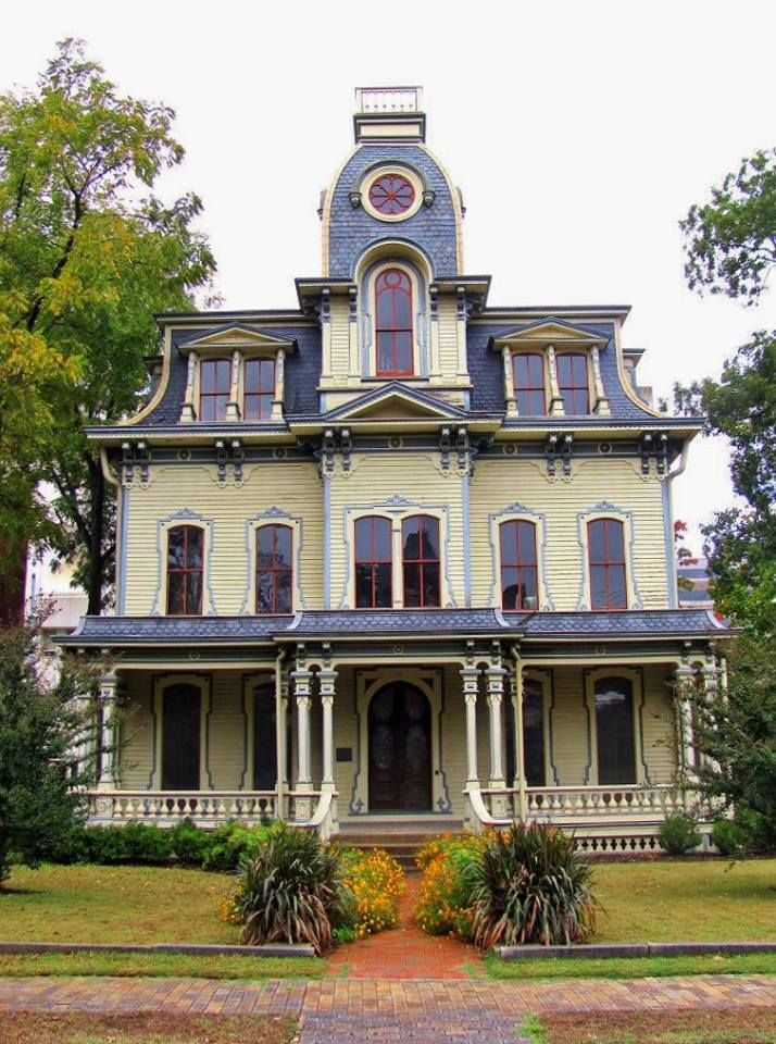 """Second Empire Mansion contracted in 1869 by Jonathan Heck and finished in 1870 in Raleigh NC, the house was designed by George S. H. Applegate (1831-1880) and constructed by John A. Waddell (1826-1883) of the firm of Wilson & Waddell. Heck, a Confederate officer in the Civil War, had been captured but paroled. His consequent fortune was made by manufacturing armaments for the Confederacy. """"Life at the house was opulent and active."""
