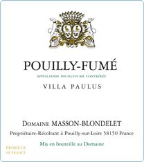 By Domaine Masson-Blondelet in Pouilly-sur-Loire, winemakers for 7 generations. A wonderful Pouilly-Fume! But you will need to contact online to arrange delivery. Otherwise there is the Domaine Masson-Blondelet 2009/10 Pouilly-Fumé, Loire, France exclusively sold by Waitrose that would do well. Fantastic with salmon or with spaghetti with dolcelatte cheese sauce...