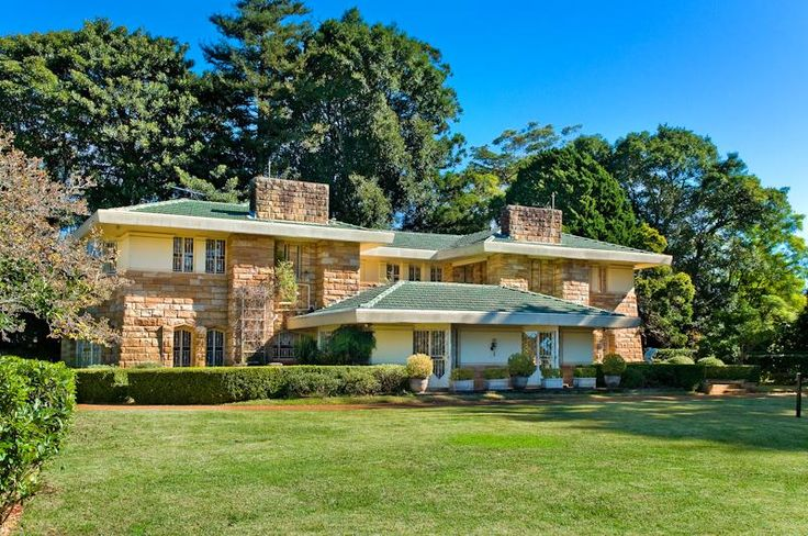 Designed by Walter Burley Griffin in 1936 as his last and largest residential commission in Australia. Currently for sale 29 Telegraph Road, Pymble, Luschwitz Real Estate.  Pinned by Secret Design Studio, Melbourne.  www.secretdesignstudio.com