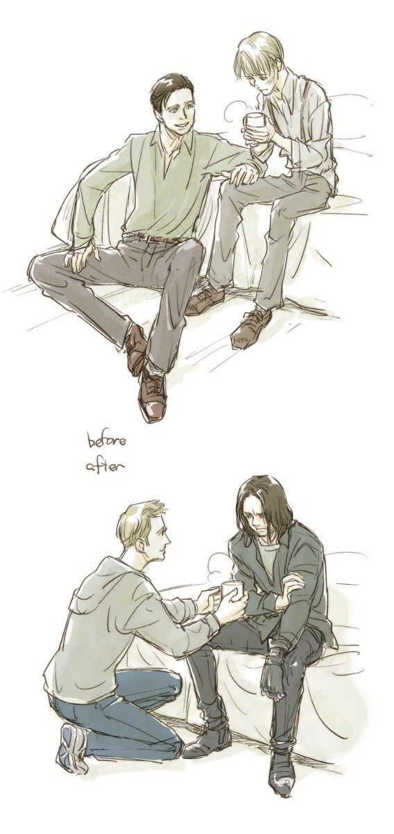 Steve and Bucky, before and after: