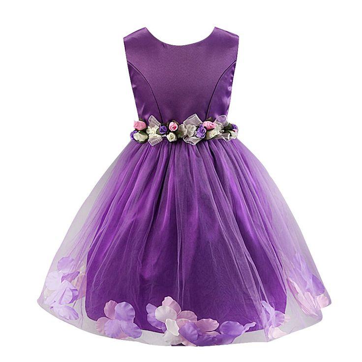 Robe de mariee enfant fille violet avec fleurs 6ans/120cm
