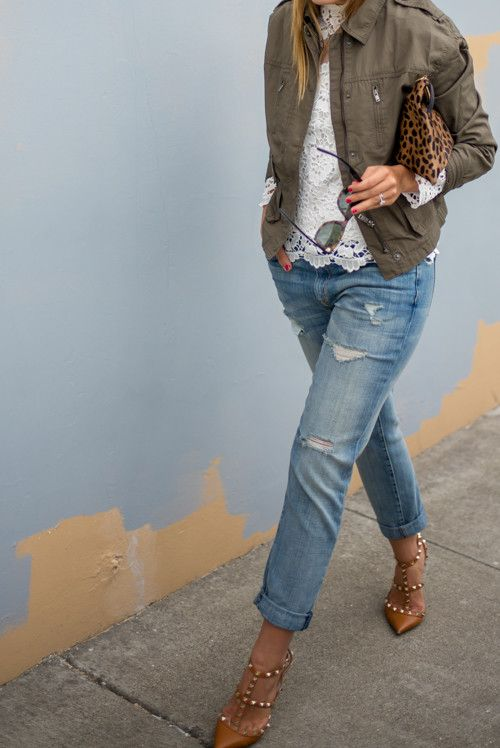 Military zip jacket styled to perfection c/o Gal Meets Glam