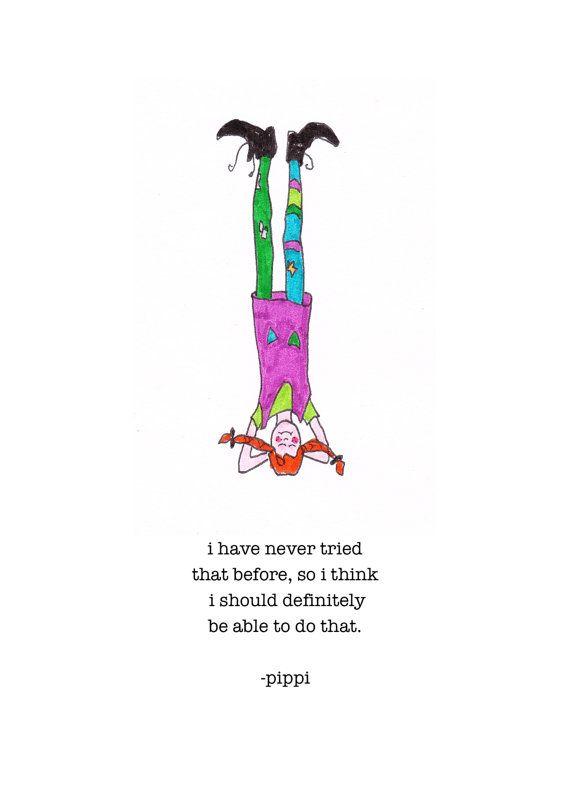 Pippi Does Yoga Pippi Longstocking art print por ZinniaAwakens