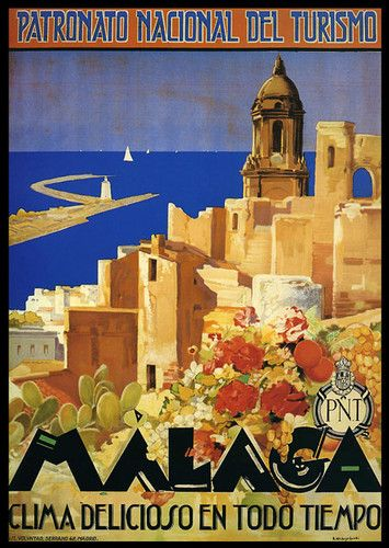 Malaga Spain Great Weather Sailboat Travel Tourism Vintage Poster Repo