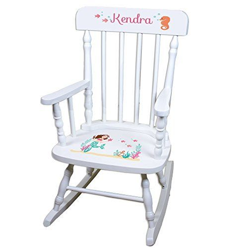 Our MyBambino Personalized Brunette Mermaid Princess White Childrens Rocking  Chair Makes A Wonderful Toddler Or Baby Gift. Sturdy Contruction And  Beatiful ...