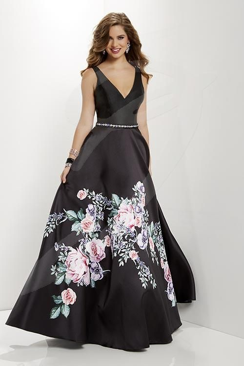 Balletts Bridal - 25309 - Prom by Jacquelin Bridals Canada - Adorable floral print adorns this satin a-line skirt with a beaded bel. Features a simple v-neck and tank back style bodice.