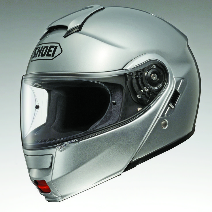 I have this helmet and it is awesome. There is a place for speakers, it's very quiet and the visor, plus flip-up is very, very nice.   Shoei Neotec Motorcycle Helmet