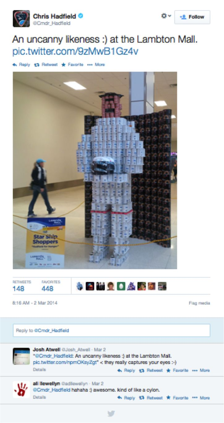 Looks like Commander @Chris Hadfield could see the resemblance in our work! Thank you so much for your support! #CANstruction2014 #Sarnia #SLont