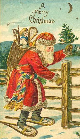 santa on snowshoes
