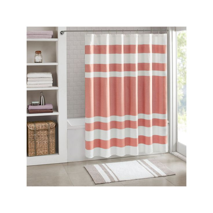 Madison Park Spa Waffle Weave 3M Scotchgard Fabric Shower Curtain, Pink