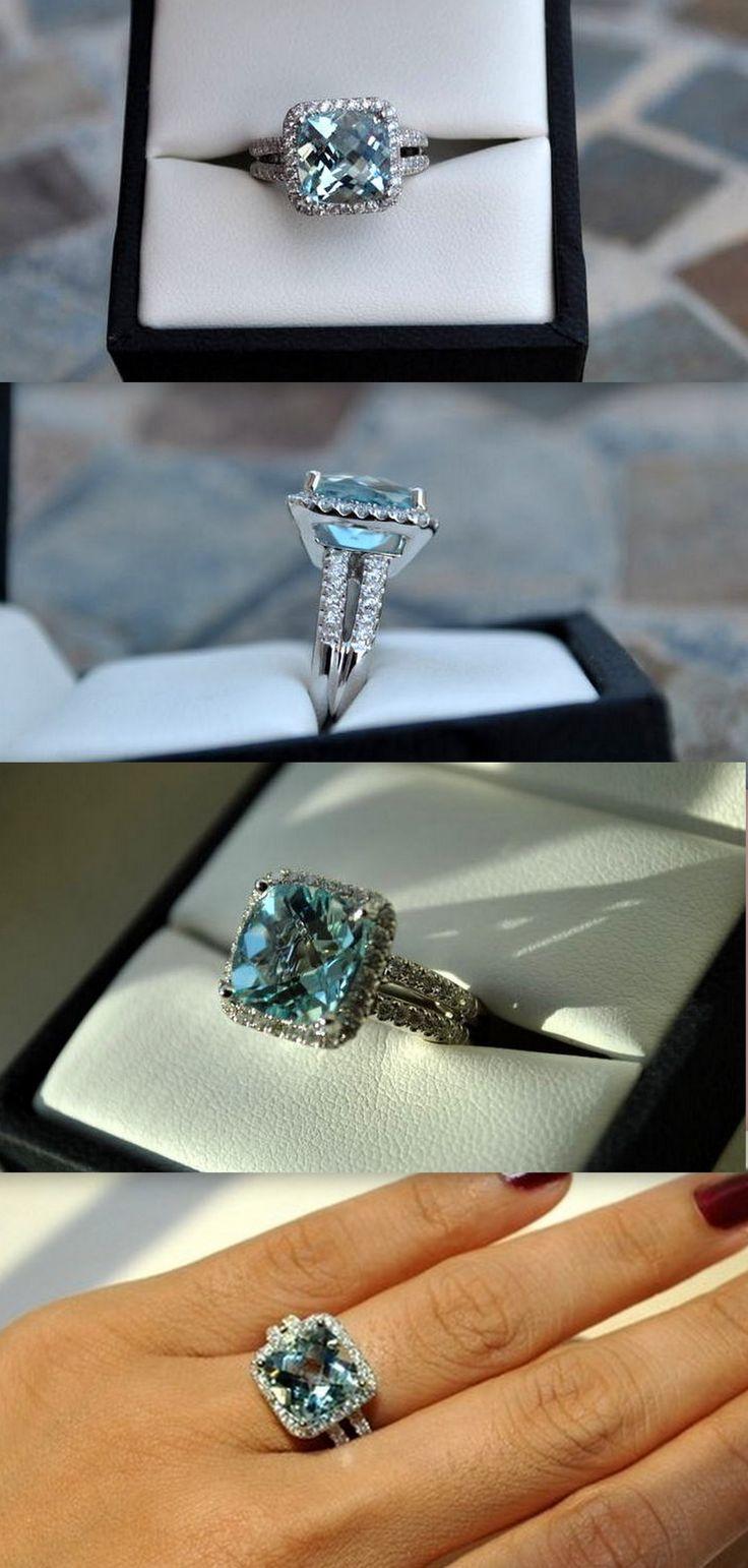 aquamarine wedding rings aquamarine wedding rings 3 86 ct cushion aquamarine w diamond halo double shank
