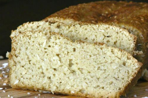 Gluten Free Coconut Sweet Bread -    *1/2 cup coconut flour   *1/4 cup almond flour   *1/2 cup shredded coconut   *1/4 – 1/2 cup granulated sweetener of choice   *1/2 teaspoon baking soda   *1/4 teaspoon salt   *3 eggs   *3/4 cup full fat coconut milk   *1 1//2 teaspoons vanilla extract   *1/2 teaspoon apple cider vinegar.   Preheat oven to 350, pour batter into greased bread pan & get quickly into oven (baking soda & vinegar are rising agents as soon as they are mixed). Bake@350 for 45 min