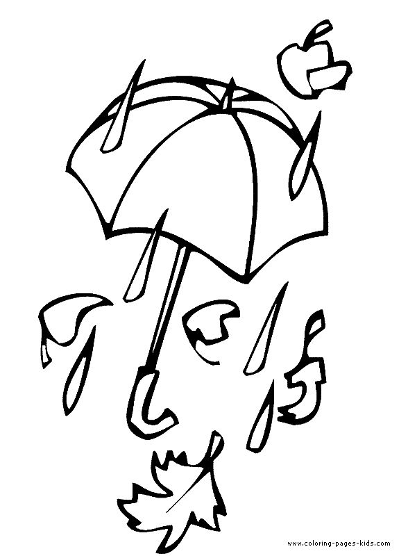 umbrella in the rain autumn fall color page holiday coloring pages color plate - Fall Coloring Pages Printables