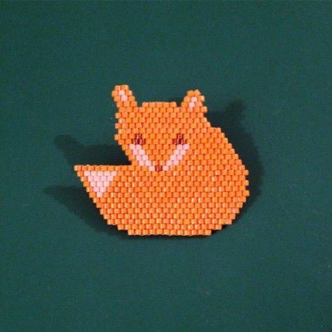 Broche perles tissées fox