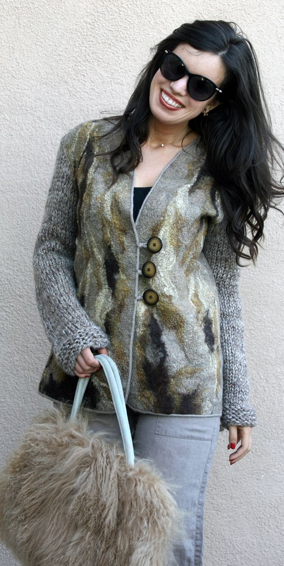Felt felted eco fashion classy beige brown long jacket woman handmade unique…