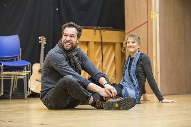 John Light and Niamh Cusack in rehearsals for The Winter's Tale at Shakespeare's Globe