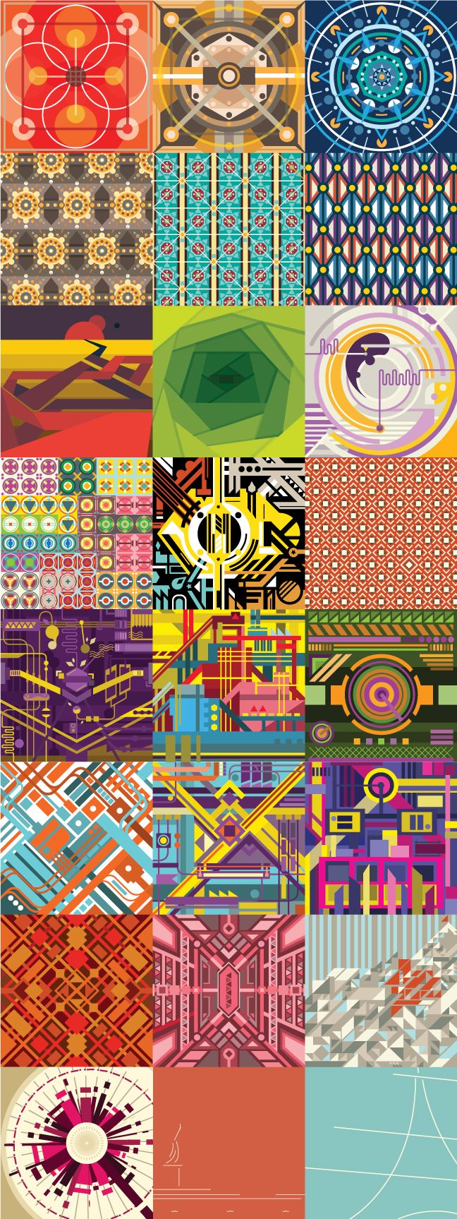 Various compositions illustrating different principles of design (symmetry, asymmetry, gestalt, etc.) and color schemes (analagous, complimentary, etc.)