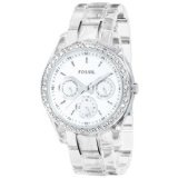 Fossil Women's ES2364 Clear Resin Bracelet White Glitz Analog Dial Multifunction Watch (Watch)By Fossil