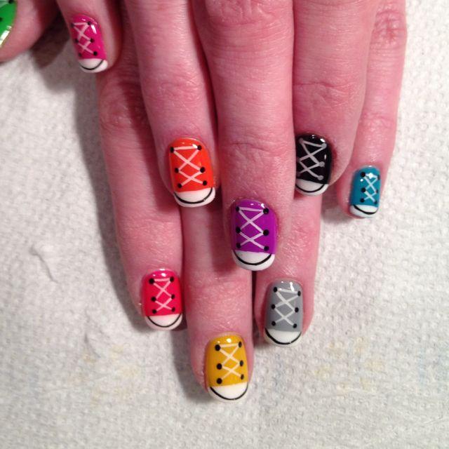 Sneaker-inspired nail art.