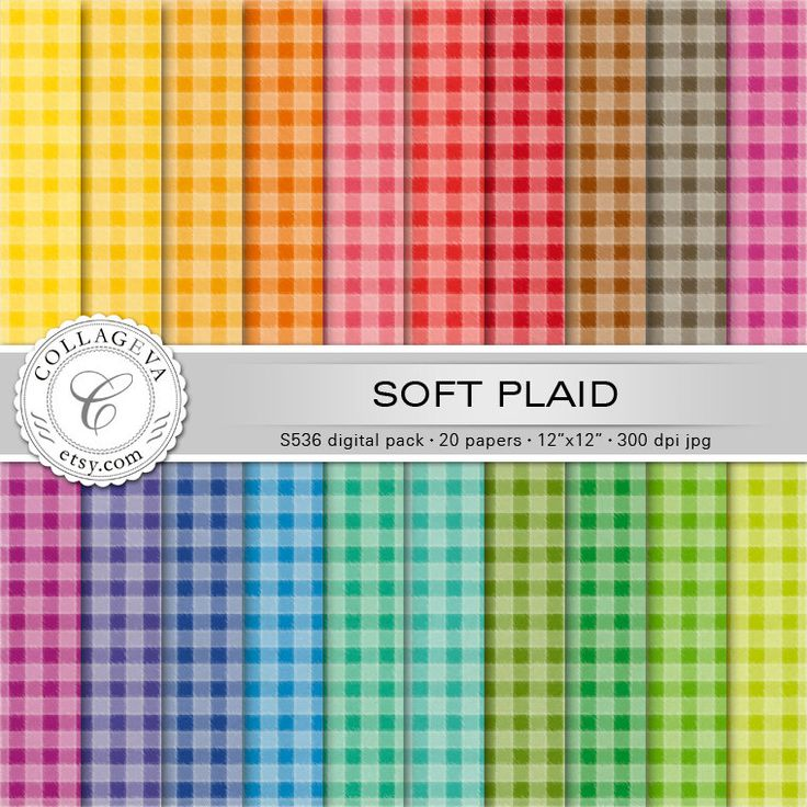 """Soft Plaid Digital Paper Pack, 20 printable sheets 12x12"""" Colorful Checked pattern, rainbow colors, Pastel Textured Gingham Flannel (S536) by collageva on Etsy"""