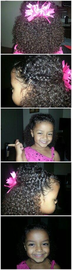 My daughter :)  Biracial mixed black kids children girls curly natural hair styles braids