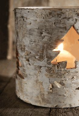 Birch Bark Candle Holders with Cut Out Tree. Celebrate the holidays with simple and sweet touches (no need to spray paint your place with red and green glitter!)