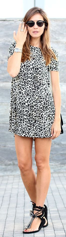 Zara Black And White Leo Print Loose Mini Dress by LadyAddict  Oh yeah I would rock this!