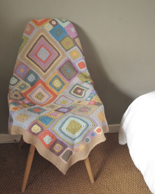Pastel crochet afghan, perfect for baby shower gift.