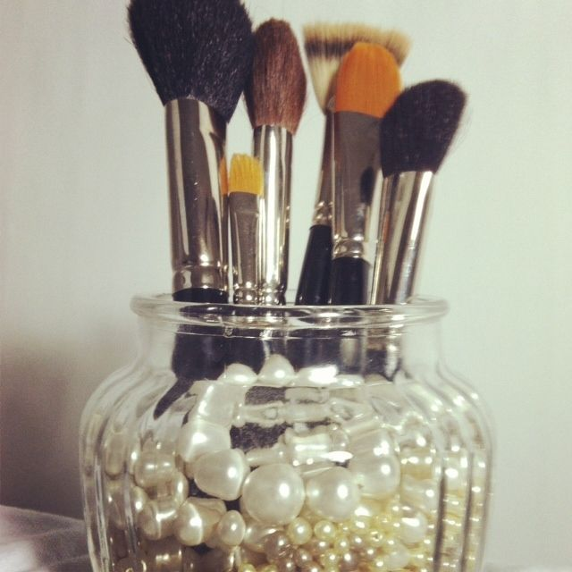 brush holder beads. use beads, of various pearl shades, as well lace in a glass vase to make an elegant statement while storing make-up brushes. (those damn mac brushes are brush holder beads