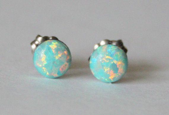 6mm Aqua fire opal stud earrings Moon yellow opal by Pearlland88