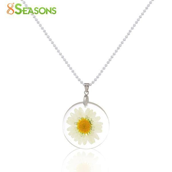 CL Handmade Boho Transparent Resin Dried Flower Daisy Necklace