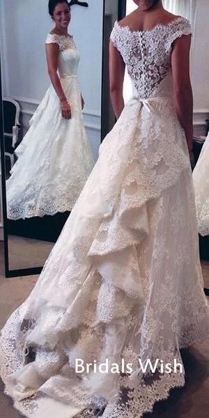 Elegant White Lace Off-shoulder Wedding Dress With Train EW0125 – bridalswish #weddingdresses #weddingdresses #weddingdresses