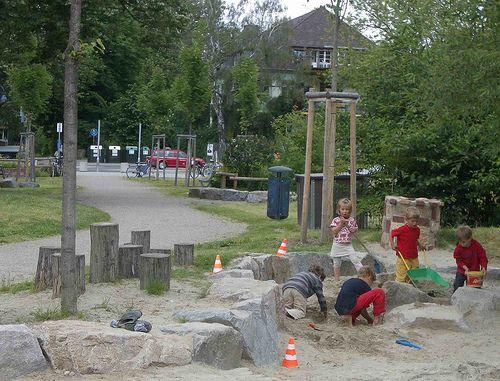 Elegant Busy sandpit nature playground Vauban Freiburg by timrgill via Flickr