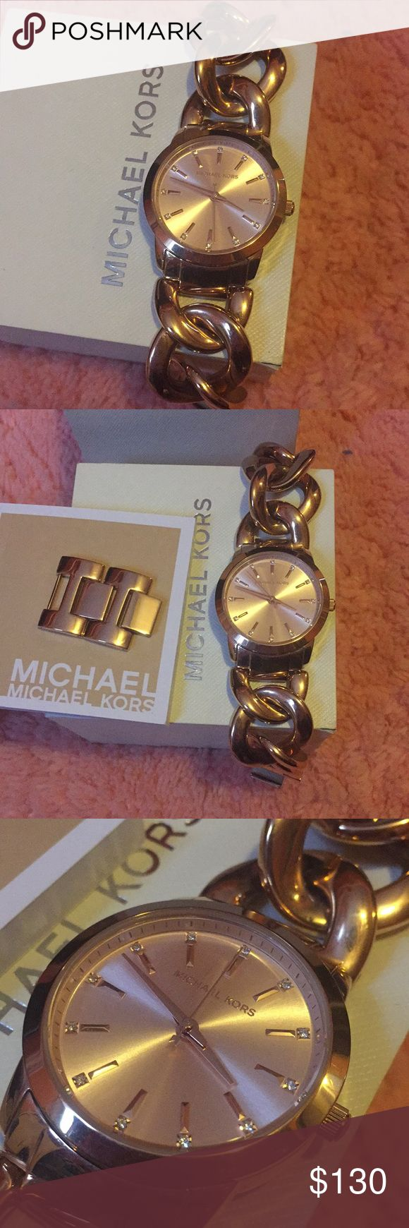 Brand new Michael kors watch never worn!! Comes with booklet , box and extra links! It's a beautiful bracelet watch. Rose gold ! Michael Kors Accessories Watches
