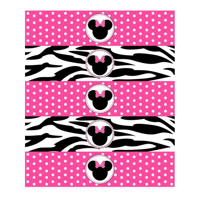 free minnie mouse printables | minnie mouse zebra water bottle labels minnie mouse zebra printable ...