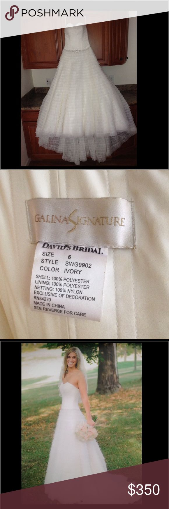 Wedding Dress! Make me an offer! Willing to trade. Galina Signature Wedding Dress by David's Bridal. Worn ONCE. Clean, no tears, rips, or stains. Matching Veil and Dress Bag is included. Color is Ivory. I will ship this Dress to you. Make me an offer. David's Bridal Dresses Wedding