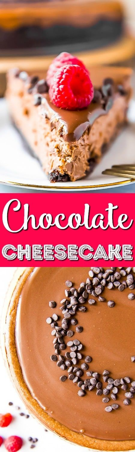 This is without a doubt the best triple chocolate cheesecake recipe you'll ever eat! Silky-smooth, creamy chocolate cheesecake is nestled in a chocolate cookie base, then garnished with a perfect dark chocolate ganache and a sprinkle of chocolate chips - whipped cream optional! #cheesecake #chocolate #dessert #recipe