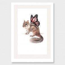 Butterfly Chipmunk Art Print by Olivia Bezett