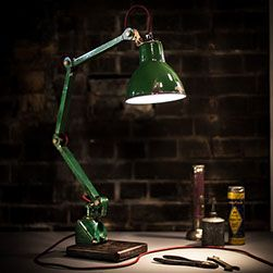 VINTAGE EDL MACHINIST LAMP, mounted on steel base, waxed and rewired by KASKI DESIGN