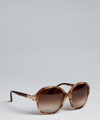 Chloe Brown Horn Acrylic Round Oversize Sunglasses