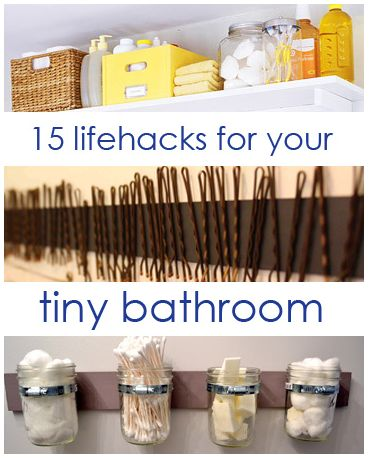 15 Lifehacks For Your Tiny Bathroom. omg my sister will love to see this!!!!!!