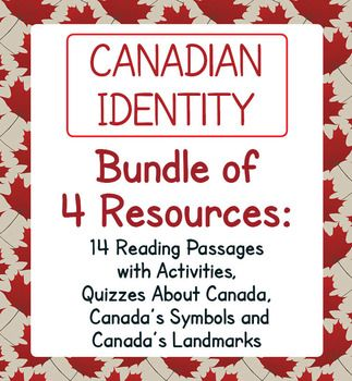 Canada! Canadian Identity Bundle of four of my resources includes the following items which can be bought individually. Buy the bundle and save! Please click on the links below to see the individual listings.Symbols of CanadaCanada! The Symbols of Canada includes six activities.