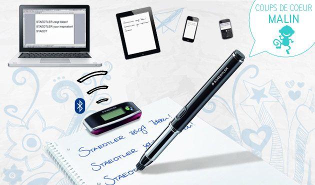 Un stylo numérique Hors-norme Sous ses airs de stylo « normal », ce stylo numérique de Staedtler s'avère être bien plus performant que vous ne le pensez… Certes, il écrit, dessine, comme un stylo. Mais en fait, ses capacités sont révolutionnaires : il stocke tout dans sa mémoire et transforme tout ce que vous écrivez en fichier sur votre ordinateur !