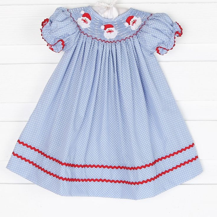 Tiny Polka Dot Smocked Santa Face Bishop Blue