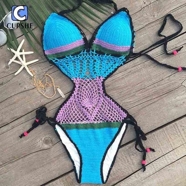 Sexy Hot Crochet Beach One-Piece Monokini S-L 5 Colors